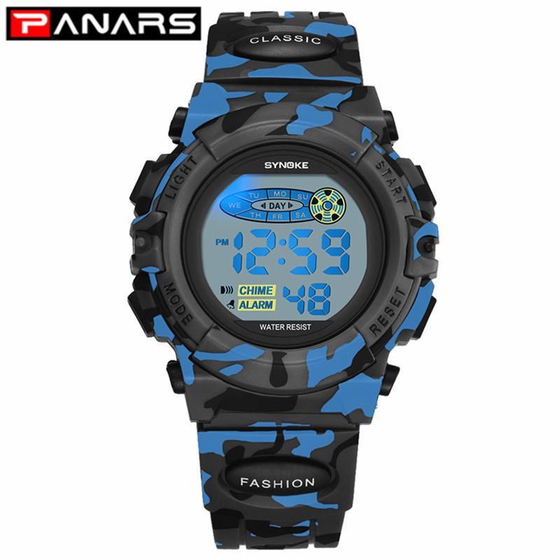 Panars Fashion Kids Watches Sports Children's Watch LED أضواء ملونة 12/24 ساعة التمويه Relogio Infantil Boy Student 2019