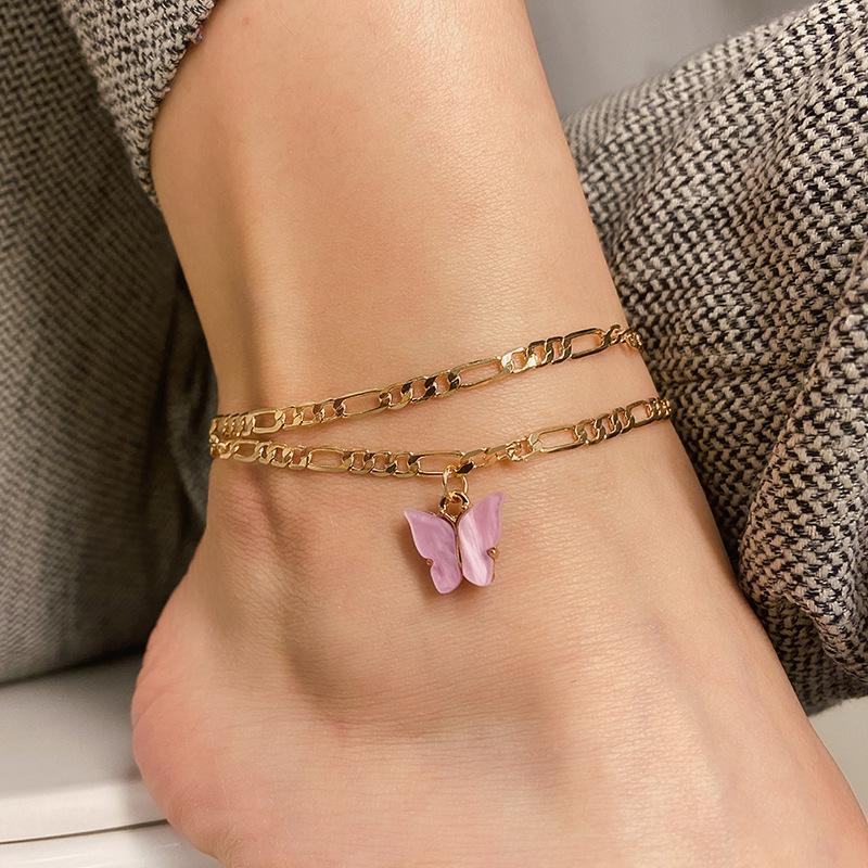 S1512 Hot Fashion Jewelry Summer Beach Chain Anklet Multi-layer Butterfly Anklet Set