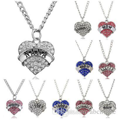 High Quality Heart Necklace I love you to the Moon and Back Mom Pendant Necklace Family Member Necklaces Mother Day Gift
