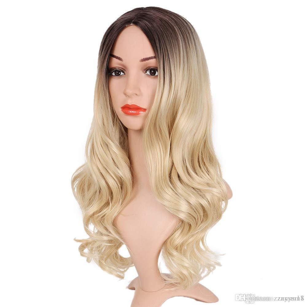 Parrucca bionda Medio Parte Ombre per le donne fibra termoresistente signore giornaliera Cosplay ondulati lunghi Capelli ricci parrucca sintetica Biondo