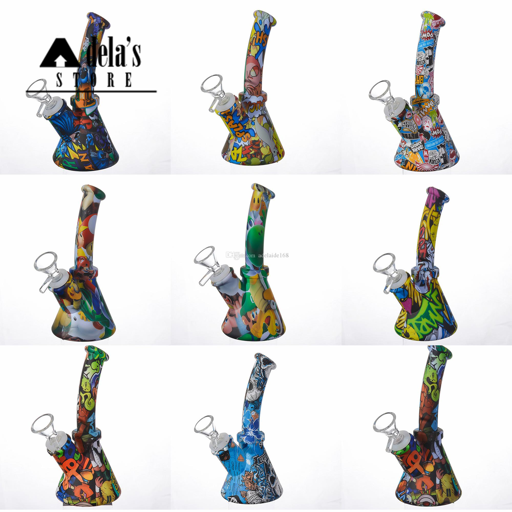 Silicone Bongs Water Transfer Printing 6.5 Inch Downstem + Free Glass Bowl 14.4mm Joint Mixed Colors Food Grade Pipes Dab 484