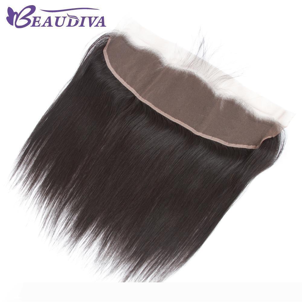 Beaudiva 13x4 brésilien cheveux raides Dentelle Frontal gratuit Partie 100% cheveux humains 8-20 pouces couleur naturelle Cheveux Vierge Livraison gratuite