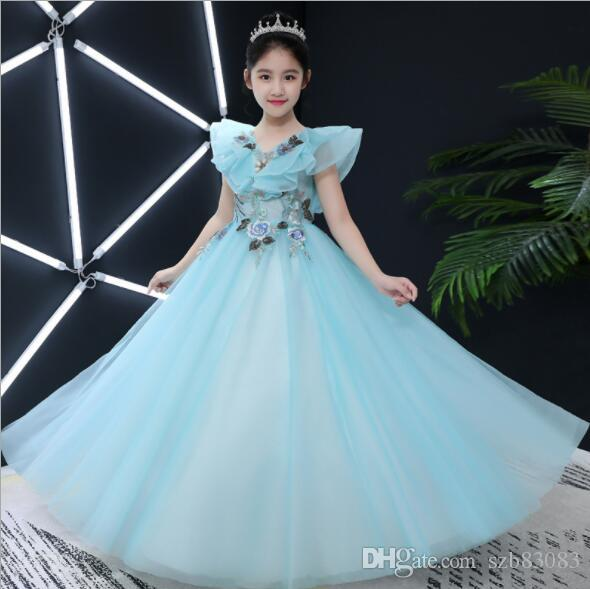 2020 New Floral Beaded Girl Wedding Dresses Elegant Light Blue Tulle Long First communion Gown Kids Evening Formal Princess Dress Baby Bapti