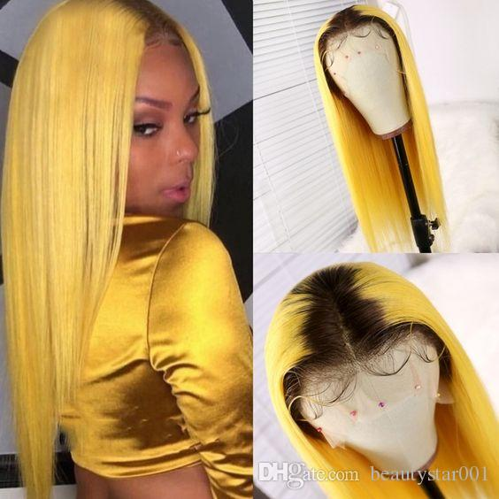 Remy Ombre Straight Human hair Weave 3 Bundles With Closure 1B/Grey/blue/Green/Yellow/Pink Striaight With Lace Closure Dark Roots Two Tone