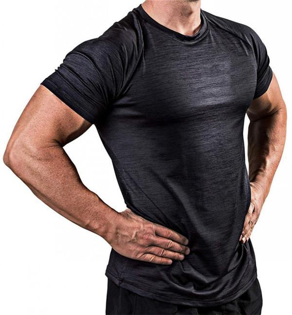 Тонкий Мужчины Спорт футболки Quick Dry дышащий Высокая Упругие колготки с коротким рукавом Бег Фитнес Jogger Trainning тенниска Для мужчин