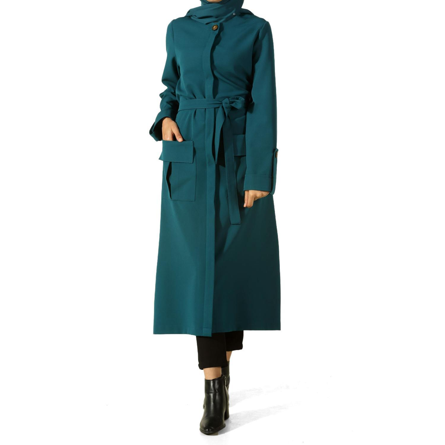 BELTED TRENCH COAT WITH POCKET