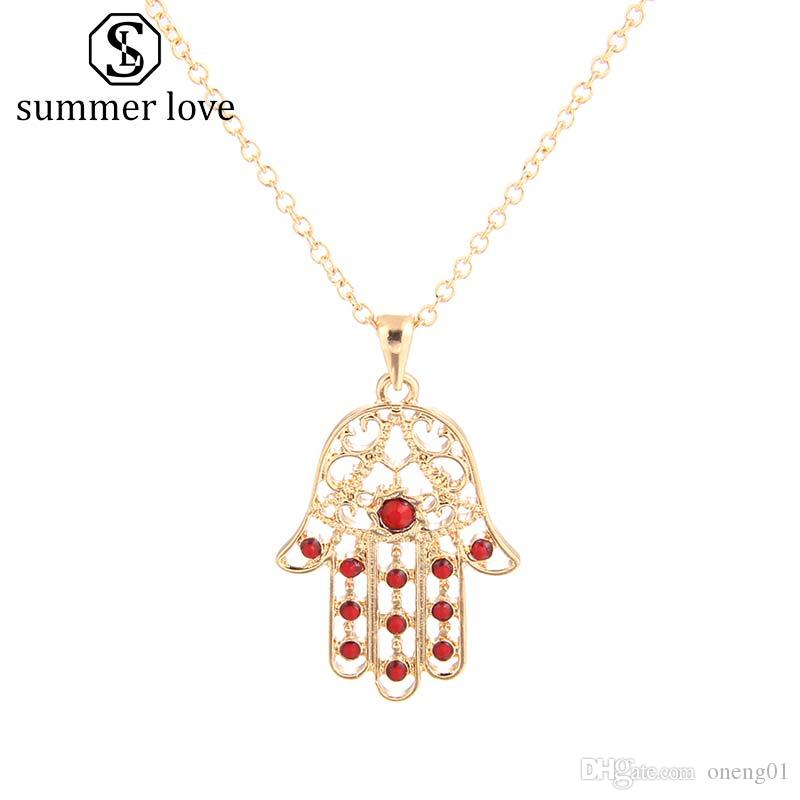 New Arrival Fatima Hamsa Hand Pendant Inlayed Turquoise Charm Necklace for Women Ajustable Size Sliver & Gold Turkish Jewelry Gift