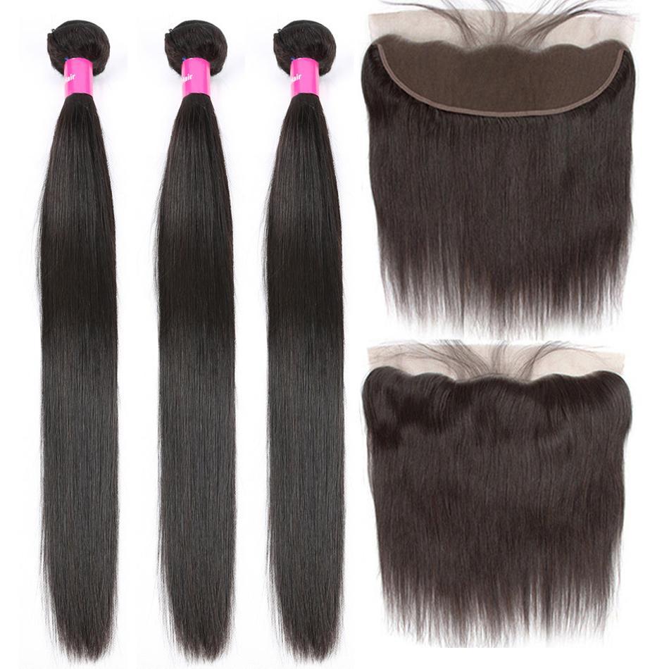 Прямая человеческие волосы 1 Связка с фронтальным Закрытием малазийского волос Remy Pre щипковых Lace Фронтальной Закрытие связки