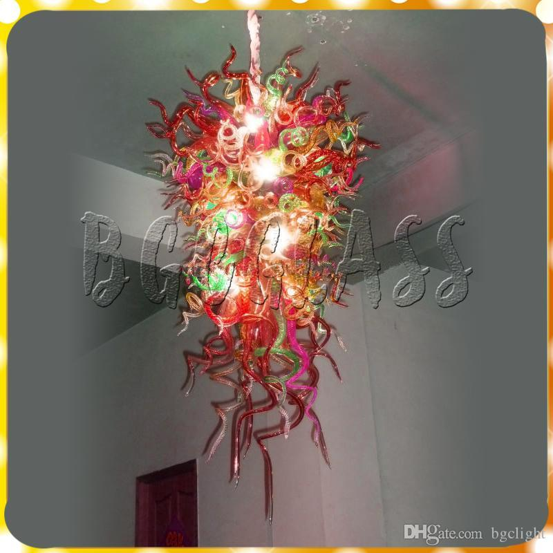 Red 100%Hand Blown Glass Chandelier Light Custom Decorative Modern Crystal Glass Cheap Pendant Lamps for Bedroom and Livingroom