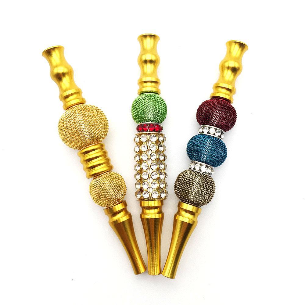 NOUVEAU Porte-narguilé longueur Diamant Gold Gold Cigarette Situe Glass Bong Circulation Circulation Métal Mâle Homme Bookah Accessoire