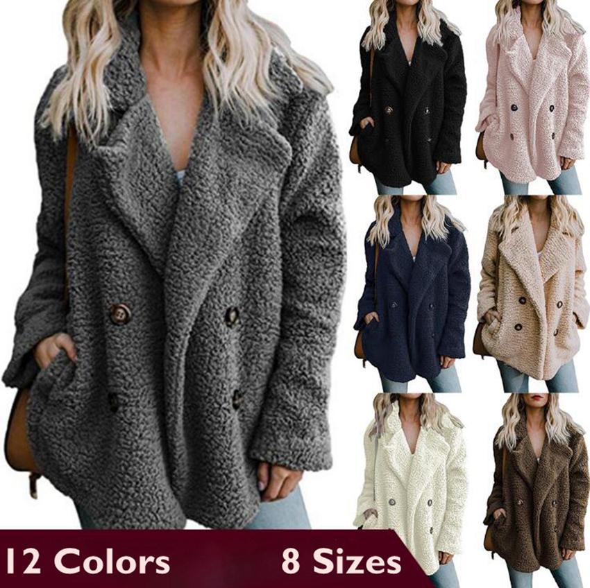 Pile del risvolto del collo Giacche 12 colori Autunno Inverno Pulsante 2-Row cappotto lungo del manicotto Sherpa Outwear OOOA7193