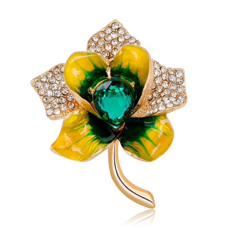 Strass cristal Broche fantaisie Zircon Broche Vêtements Fleur Pétale Pin Pin Collier Bijoux Parti AL232