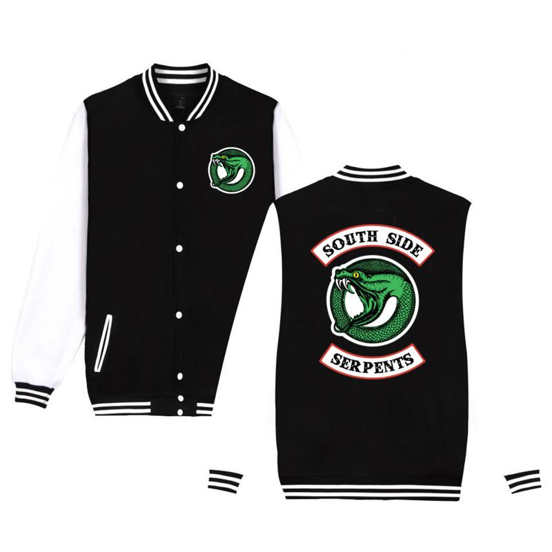 남자 재킷 리버 데일 남쪽 자켓 거리 바람 뱀 야구 까마귀 패션 피트니스 유니폼 4XL xxs