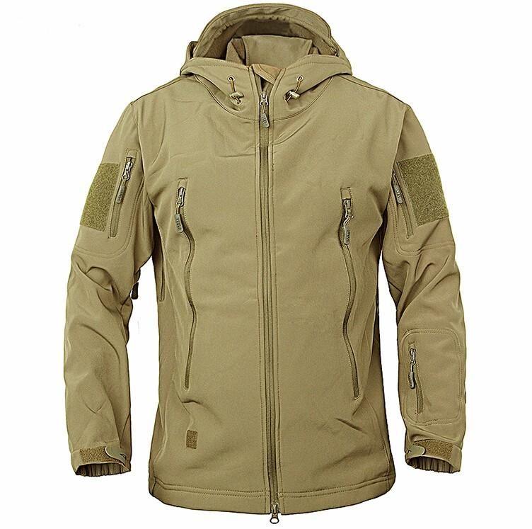 Brasão camuflagem militar do exército jaqueta impermeável Windbreaker Raincoat da caça roupas homens do exército Casacos Casacos e Coats engraçado