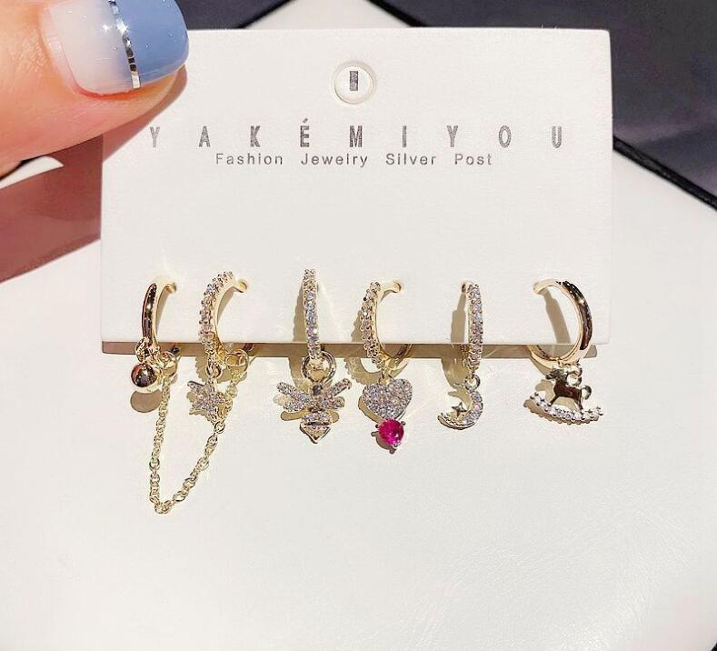 combinaison de haute qualité coréenne simples boucles d'oreilles fleur de clés perle tempérament 6 accessoires d'oreille pièce