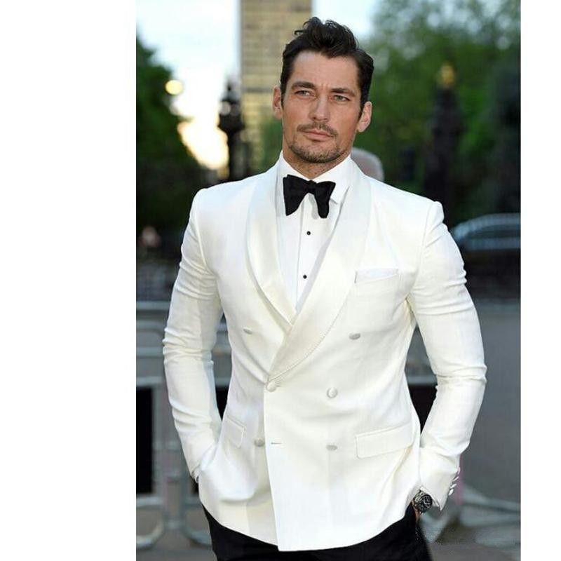 جودة عالية العاج الرجال الدعاوى العريس البدلات الرسمية رفقاء الزفاف حفل عشاء مزدوجة الصدر أفضل رجل الدعاوى (سترة + سروال + التعادل)
