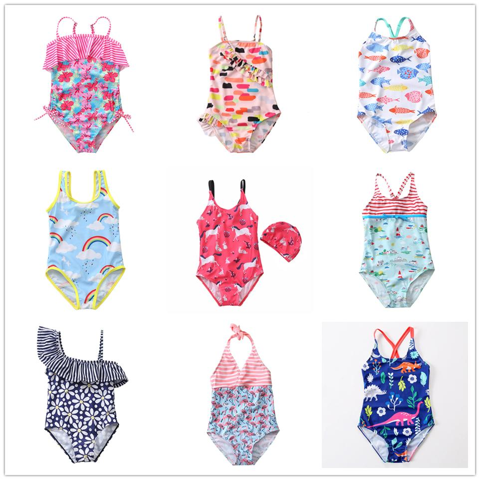 Nova 2019 Menina do Swimsuit 2 ~ 8Y Meninas Swimwear de uma peça Crianças Swimsuit Crianças Tankini Terno Unicorn Beachwear-SW369MIX
