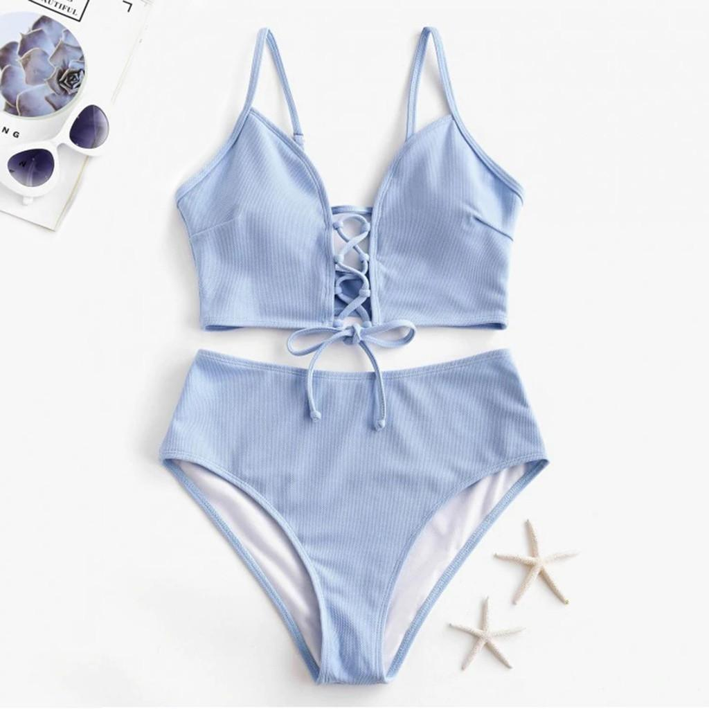 Swimsuit Feminino Sexy Cordas Lace Up Bikini 2020 New High Cut Swimwear Mulheres Verão de banho Halter Bikini Set Swim Suit 20Feb