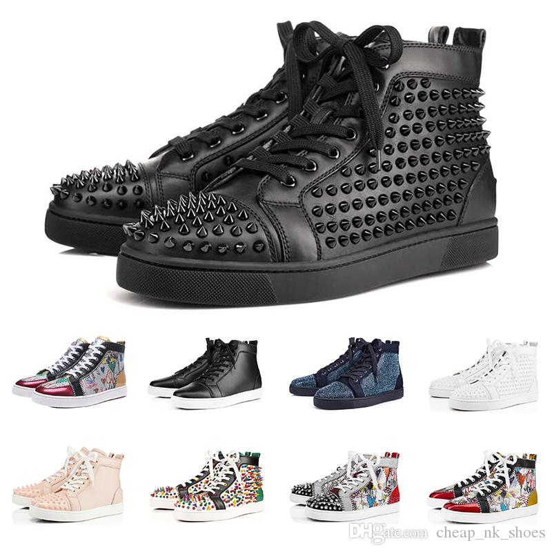 New Fashion Luxury sneakers designer shoes red bottoms for men women high cut Spikes Party Lovers Genuine Leather casual rivet Sneaker