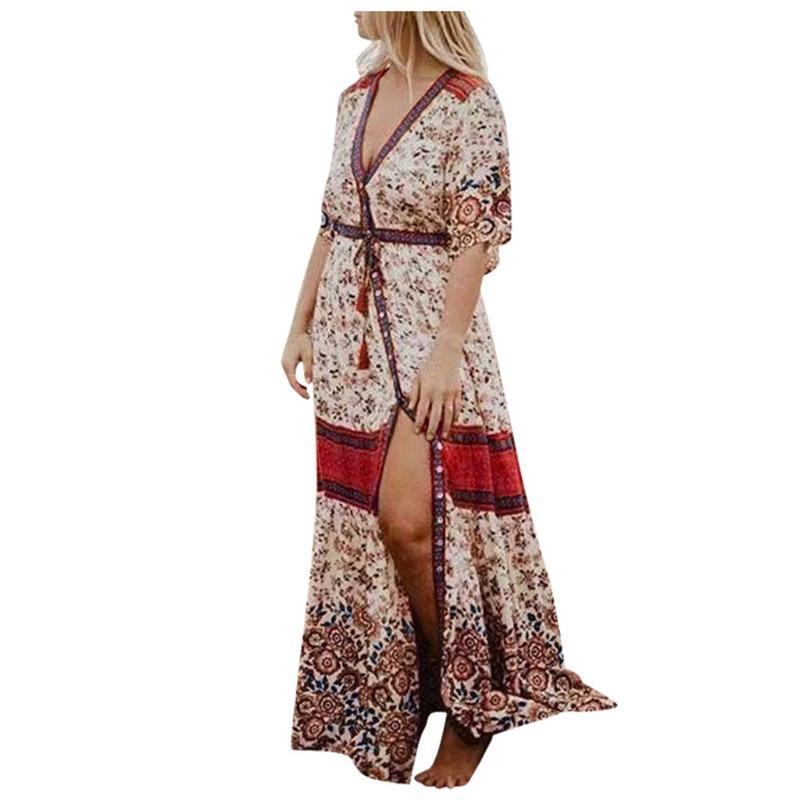 Robe Gypsy bohème de SAGACE Mode féminine Imprimer robes décontractées pour les femmes Trois col en V manches trimestre Maxi robe femmes plage