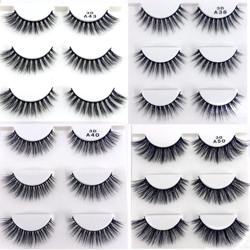 3d F060 3 Paires Faux Cils Naturel Maquillage Long Long 3d Cils Extension Cils Cils Croix 2019