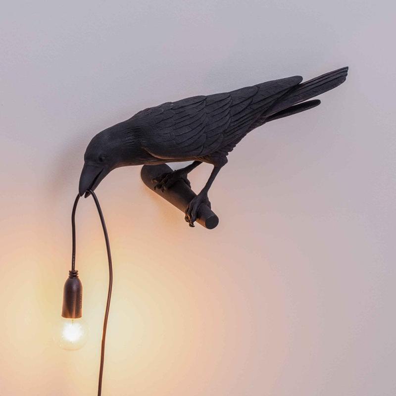 Resina Bianco Lampada da parete Arte lampada per uccelli Seletti Uccello Nero moderno Sconce Uccello parete con spina per il Soggiorno Camera da letto Sala da pranzo Light Fixtures