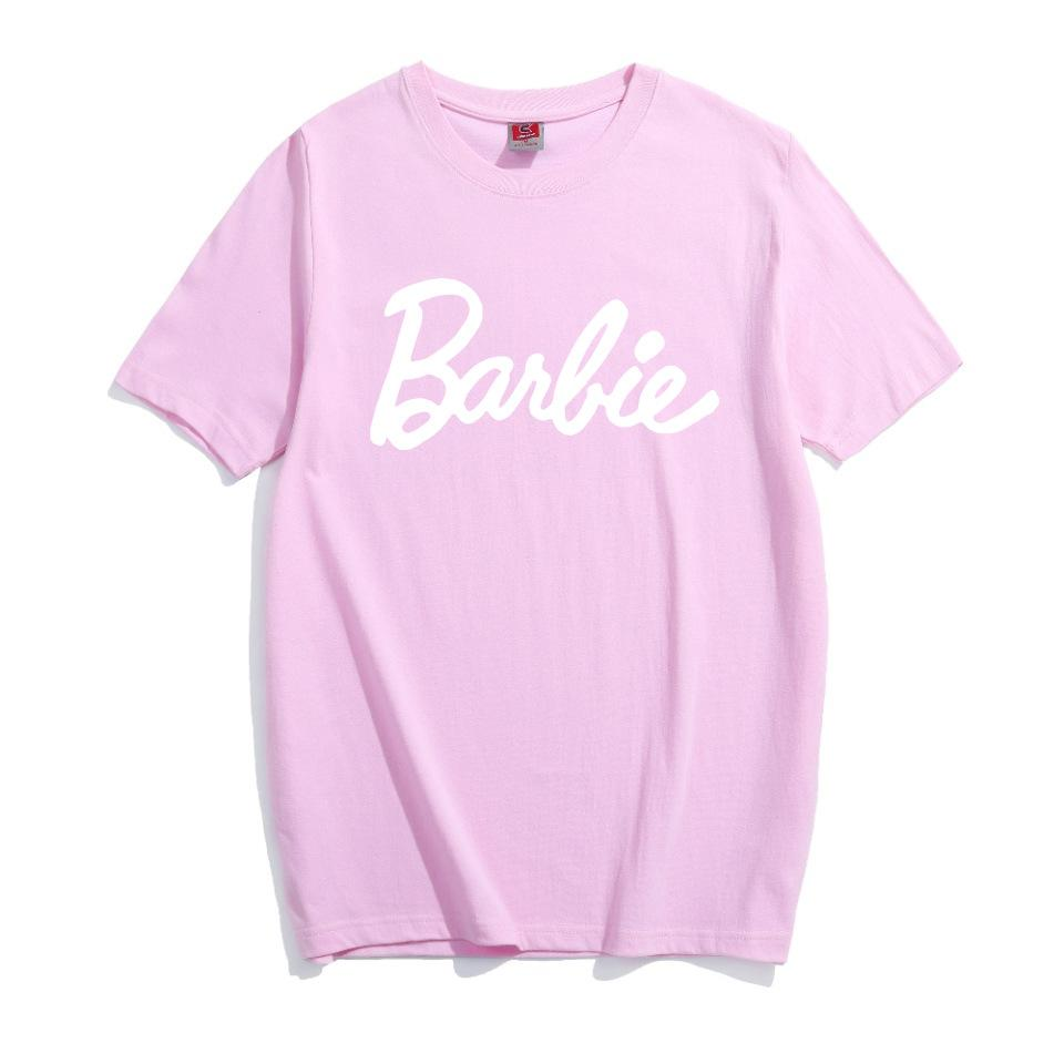2020 Barbie Письмо печати Хлопок T-Shirt Женщина Sexy Tumblr Graphic Tee розовых серая тенниска вскользь футболки Bae Топов нарядов тройников Рубашка
