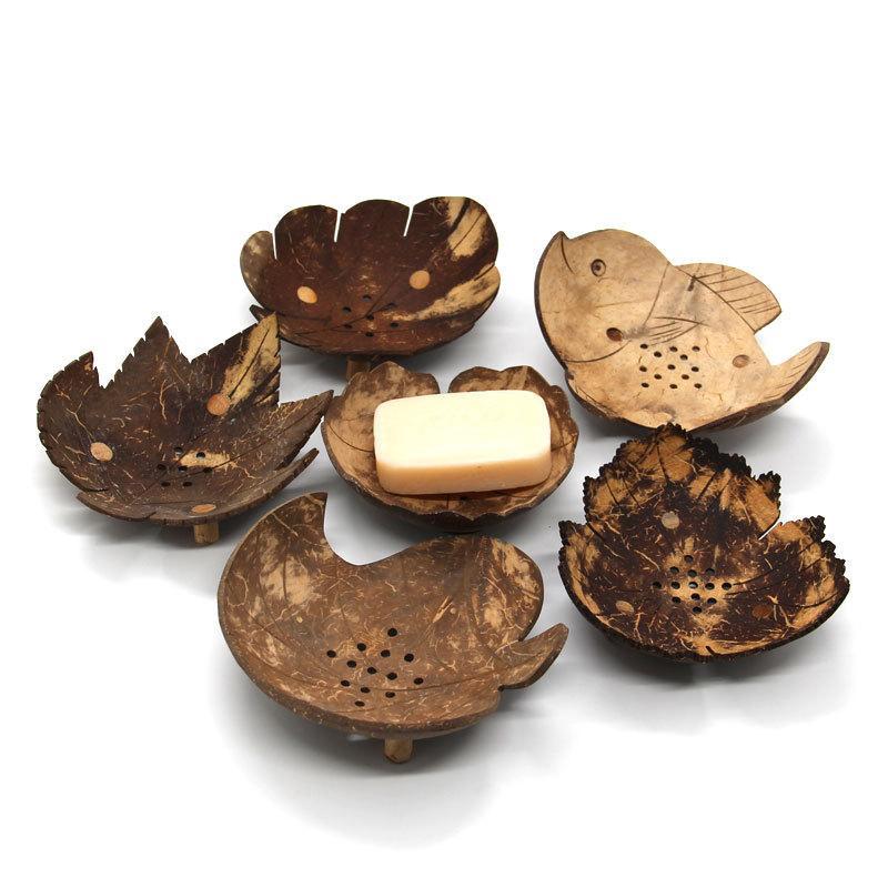 Plats Soap Creative de Thaïlande Rétro savon en bois Salle de bain Forme coco Savon Vaisselle Holder Accessoires Accueil