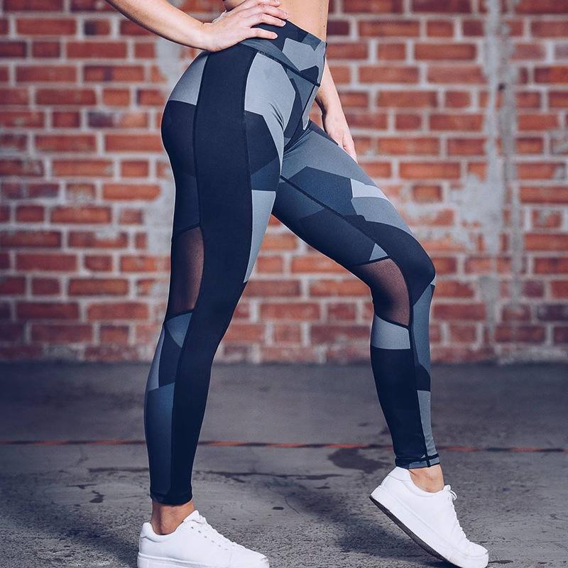 2019 norte-americanos de comércio exterior de quatro pinos de seis linha de impressão digital de leggings emenda líquidas quadris calças de yoga de cintura alta
