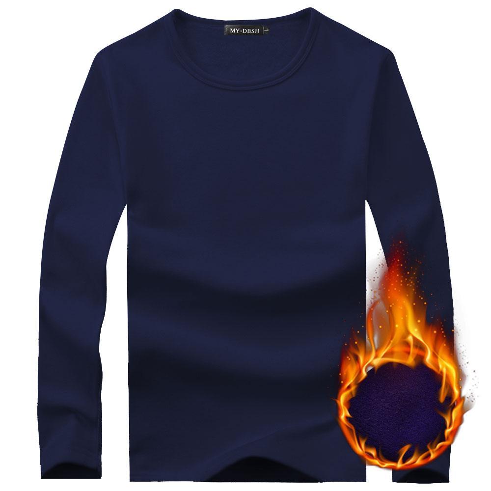 Hombres camiseta térmica camisa de terciopelo suave grueso del invierno del otoño de manga larga del O-cuello de la camiseta Tamaño hombres Negro Blanco Slim Fit Plus 5XL camiseta