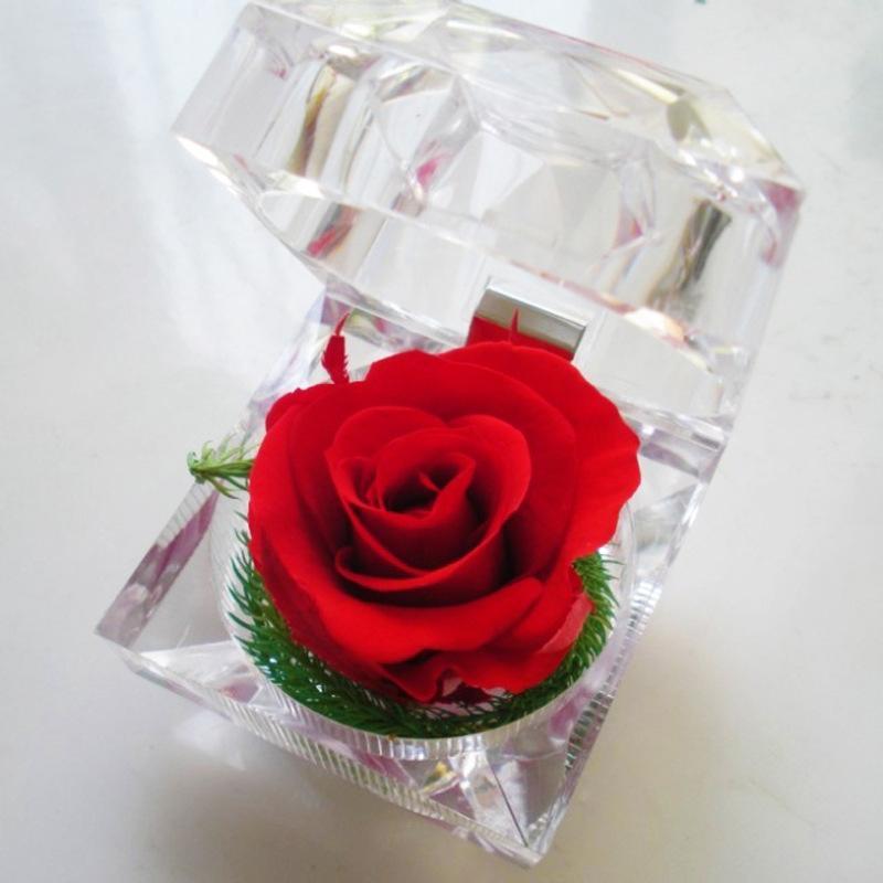Eterno rosa anillo caja creativa regalo día de tarjeta del día de San Valentín regalo romántico eterno vida flor madre día presente bf