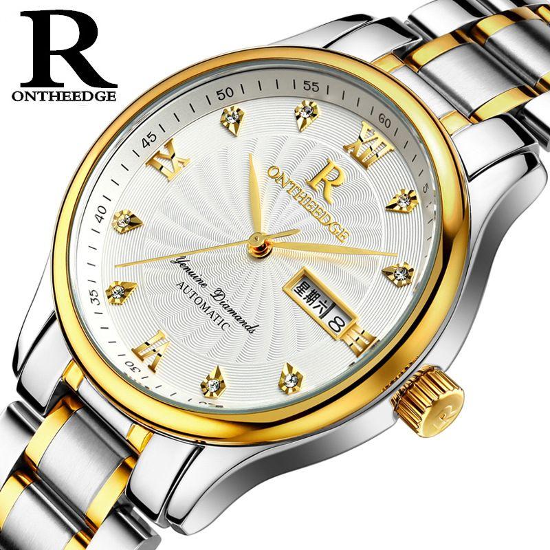 Ruizhiyuan подлинной супер тонкий водонепроницаемый тонкой стальной ленты кварцевые часы студент