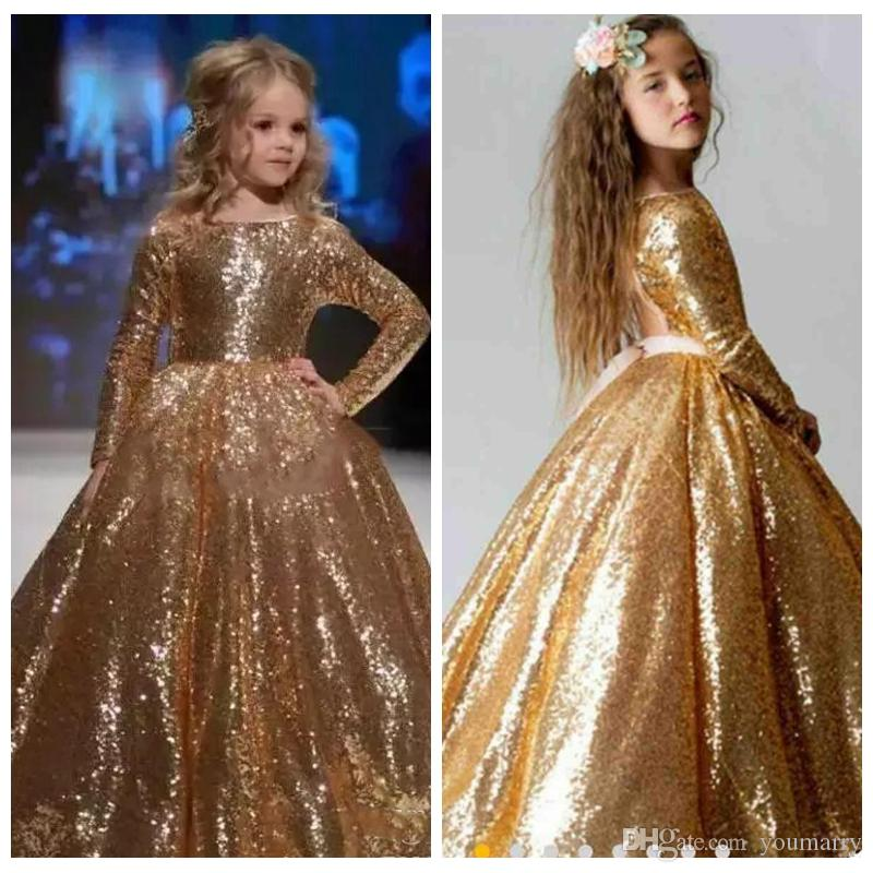 2019 Gold Sequins Long Sleeves Flower Girls Dresses Formal Open Back Vestidos De Girls Pageant Party Gowns Custom For Kids