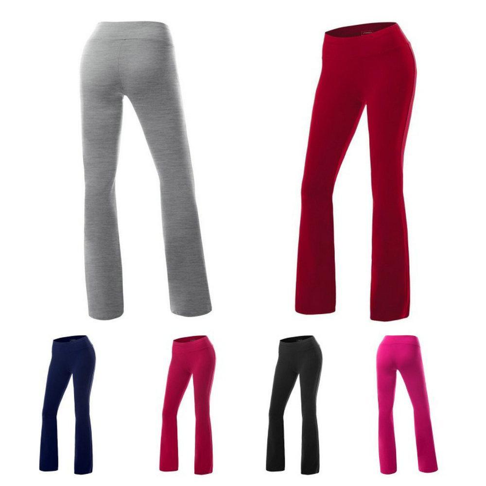 FashionWomen Pantolon Rahat Elastik Bel Flare Geniş Bacak Pantolon Palazzo Pantolon Yoga Spor Tayt Kapriler Gevşek Sweatpants Dans Uzun Pantolon