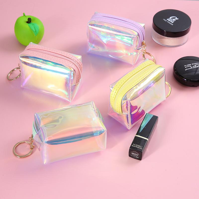 New Fashion Zipper PVC Gradient Coin Purse Ladies Square Jelly Transparent convenient Lipstick Cosmetic Storage Accessories