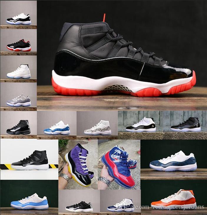 Chaussures de baskeT XI Bred pour hommes bas Space Jam Snakeskin Barons 11 Chaussures en cuir verni athlétique Low Columbia Bleu Concord  XI Black Sneaker
