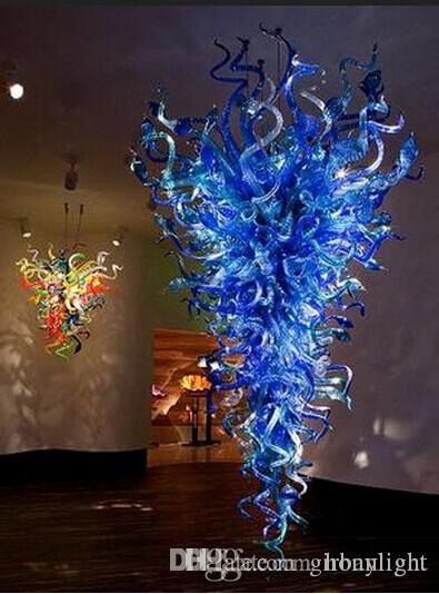 Llevada moderna Lámparas de lujo grandes de araña de cristal de Murano Estilo Iluminación Soplado Escalera de vidrio de la lámpara por Home Hotel