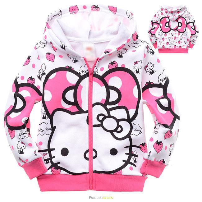 Sweat-shirt Manteau Automne Bonjour Kitty Fille Manteau Mignon Causal Fille pour 2-6ans Filles Kds Enfants Vêtements Vêtements