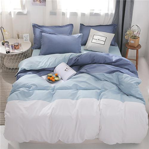Grey 100% Washed Cotton Duvet Cover Set 4Piece Luxury Soft Bedding Set with Buttons Closure,Solid Gray Color Pattern Duvet Cover