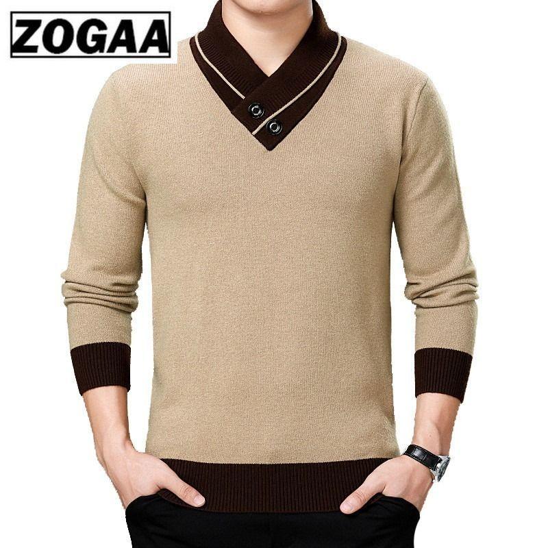 ZOGAA Autunno Inverno Mens Sweater Mens doppio collo in maglia Pullover Casuale cotone con scollo a V a mosaico maglione caldo Slim Fit Tops