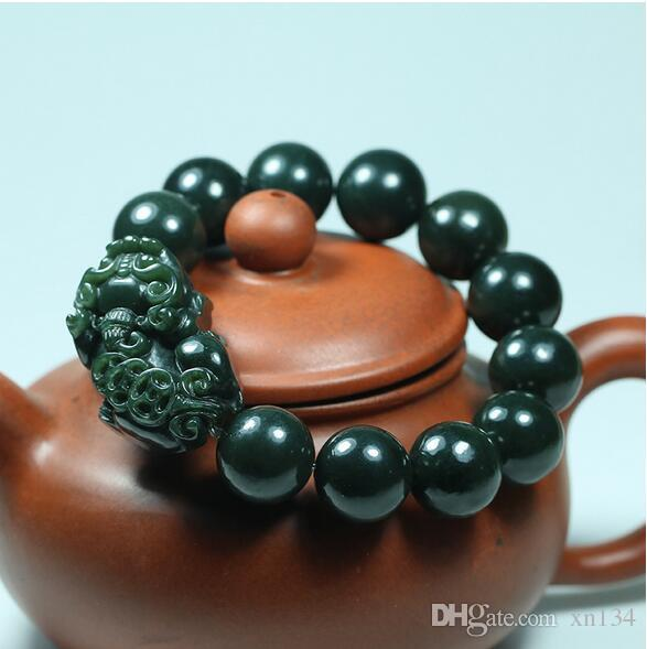 Natural Hetian Jade 16mm beads Pixiu Elastic Bracelet Charm Jewellery Fashion Accessories Hand-Carved man woman Amulet Gifts