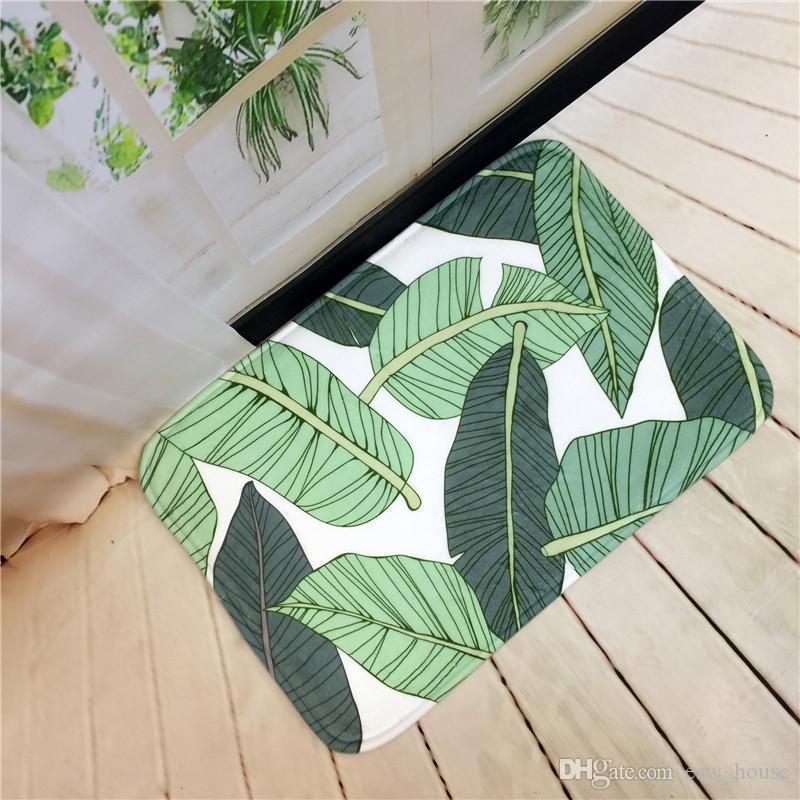 사랑스러운 인쇄 녹색 잎 EU 스타일 자연 나무 현관 매트 미끄럼 흙 털 지역 러그와 카펫 바닥 매트 실 부엌 카펫 화장실