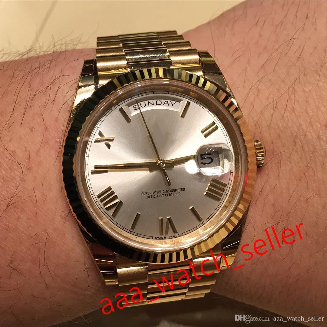 Роскошные часы Master 40mm Day-Date 228238 228235 Щелковый циферблат Президент Браслет Автоматическое механическое движение Ференое бешеное мужское наручные часы