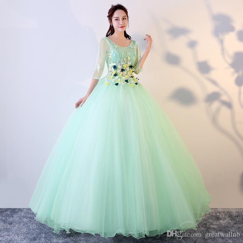 freeship 럭셔리 꽃 자수 밝은 녹색 절반 슬리브 볼 가운 긴 드레스 중세 르네상스 가운 로얄 빅토리아 드레스