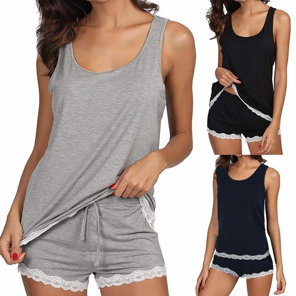 Grey Womens Pajama Set Striped Sleeveless Sleepwear Sets Bamboo Tank And Shorts Set solid sleeveless lingerie mujer S70 yhHS#