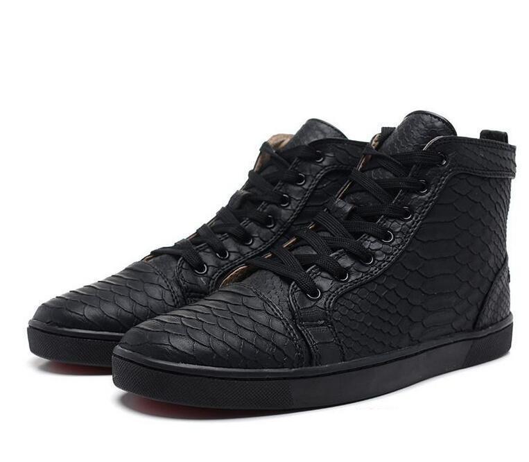 Mode Chaussures montantes Spikes, Chaussures Bas Rouge en cuir noir pour les hommes et les femmes Party de loisirs Chaussures de sport Flats sport Chaussures Casual