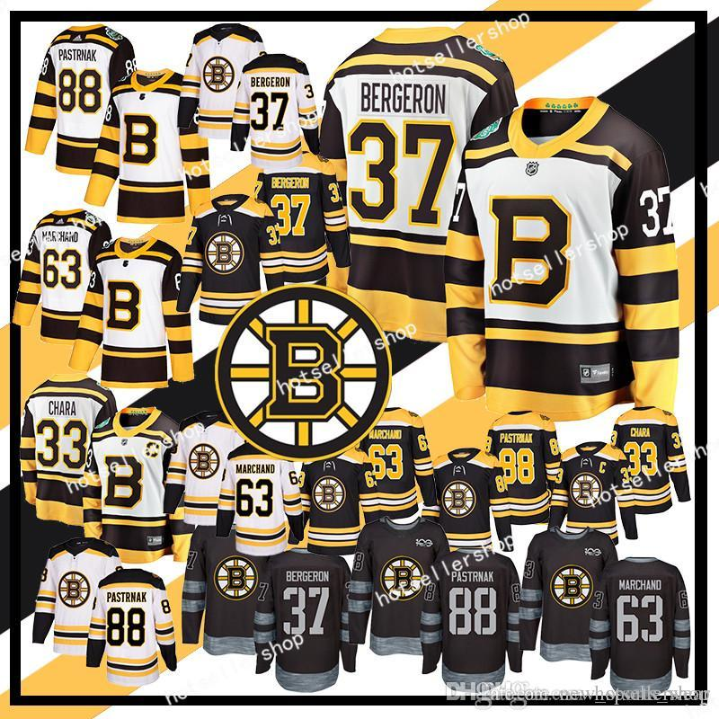 Boston Bruins Hockey-Trikots 33 Zdeno Chara 37 Patrice Bergeron 63 Brad Marchand 88 David Pastrnak 4 Bobby Orr Retro