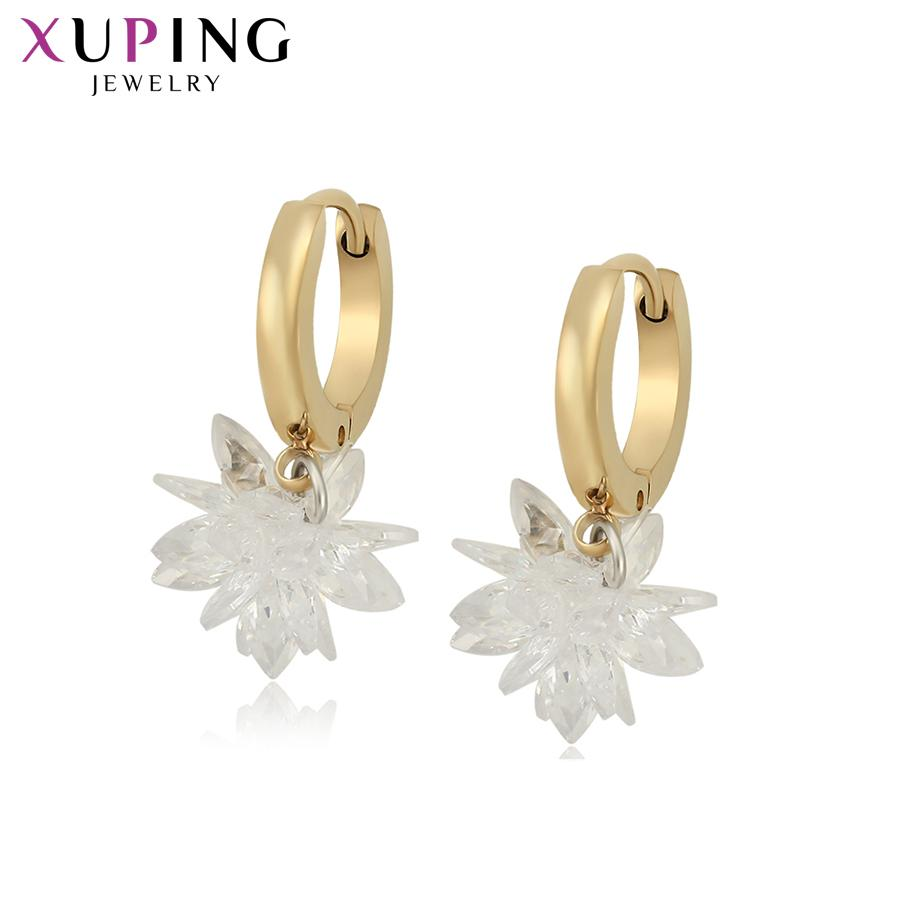 Xuping Fashion Vintage Jewelry Simple Light Yellow Gold Color Hoop Pendientes con CZ sintético para mujer Regalo familiar S202.7-98923