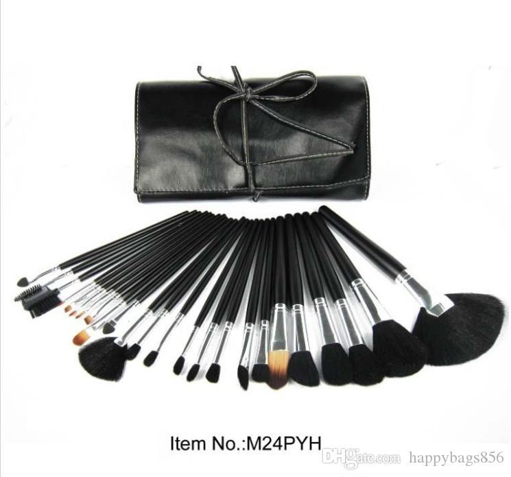 Ücretsiz Kargo! Yeni Makyaj Fırça 24pcs DERİ Kılıfı Makyaj 24 Adet Fırça Setleri