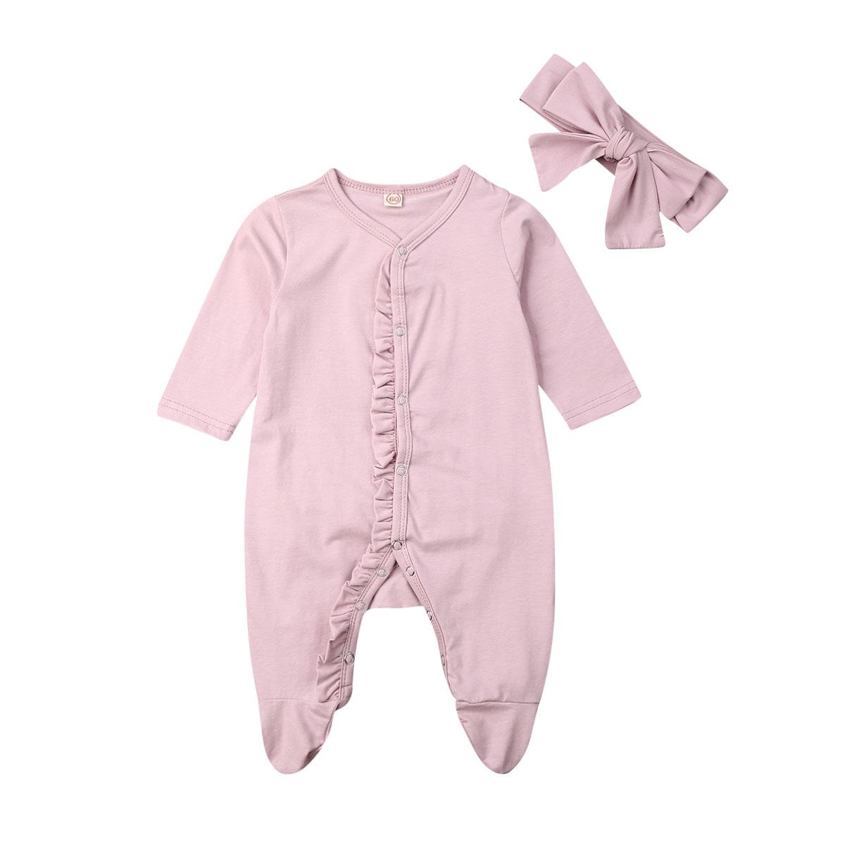 Newborn Baby Boy Girl Autumn Clothes Footies jumpsuit +Headband ruffled solid cotton comfortable baby boy girl clothes